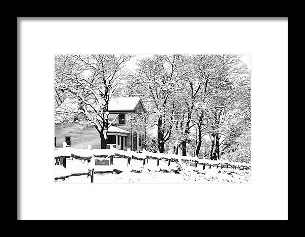 Blizzard Framed Print featuring the photograph Farmhouse In Winter by Roger Soule