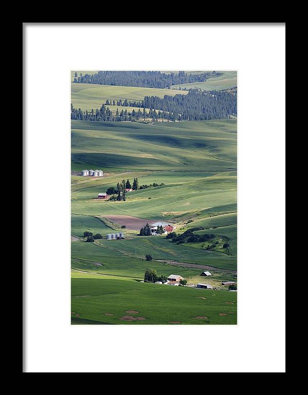 Fertile Framed Print featuring the photograph Farmland In Eastern Washington State by Carl Purcell