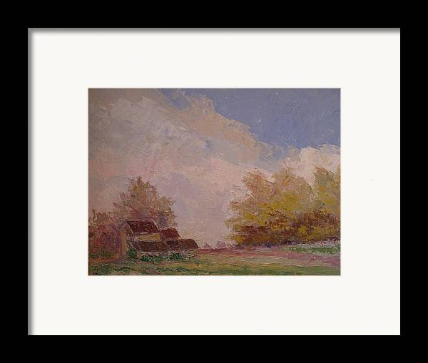 Farm Scene Framed Print featuring the painting Farmstead Hunterdon Nj by Belinda Consten