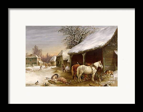 Gg14441 Framed Print featuring the painting Farmyard In Winter by Henry Woollett