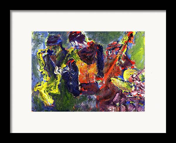 Live Jazz Quartet Framed Print featuring the painting Faruq And Skeeter by Don Thibodeaux