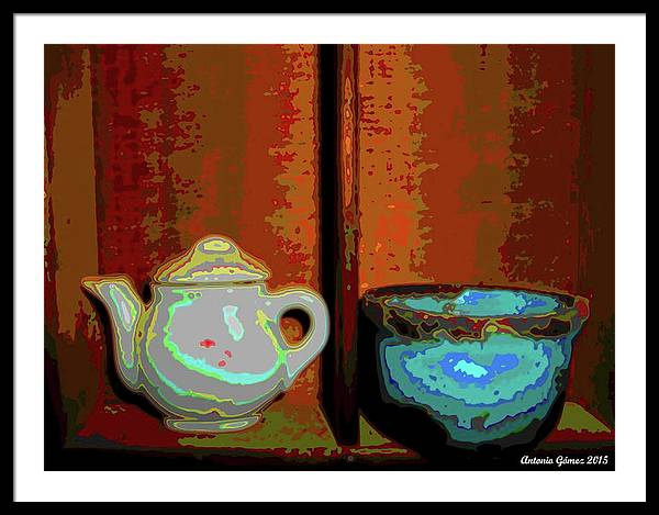 Still Life Framed Print featuring the digital art Cup Of Tea by Antonio Gomez