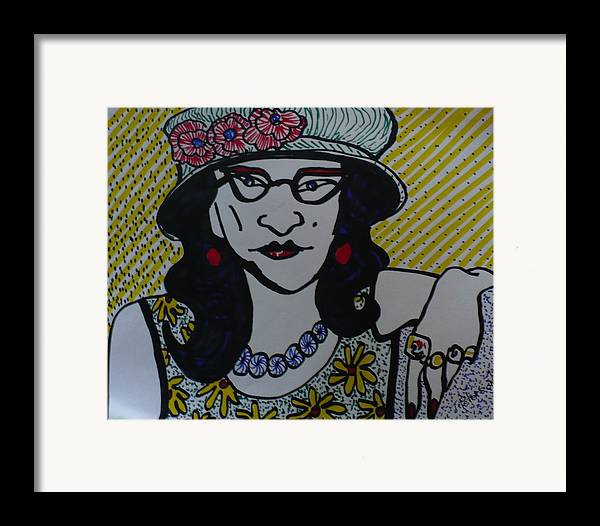 Woman Framed Print featuring the drawing Fashion Statement by Todd Peterson