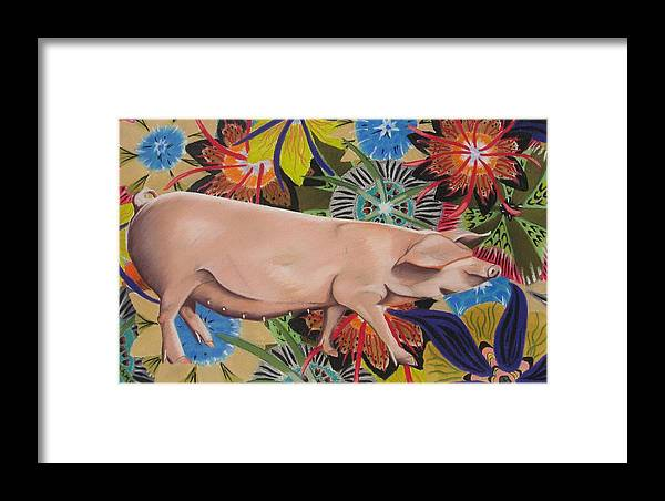 Painting Of A Pig Framed Print featuring the painting Fashionista Pig by Michelle Hayden-Marsan