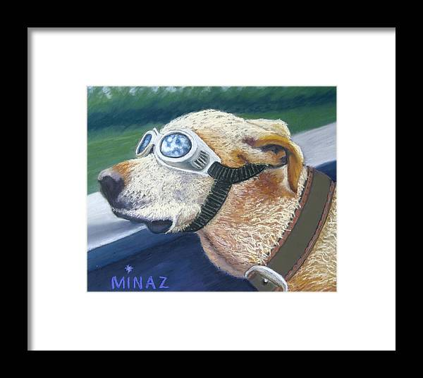 Golden Labrador Framed Print featuring the painting Fast And Furious by Minaz Jantz