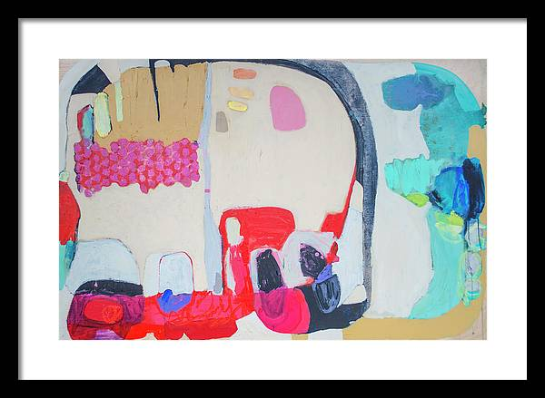 Abstract Framed Print featuring the painting Fast Friends by Claire Desjardins