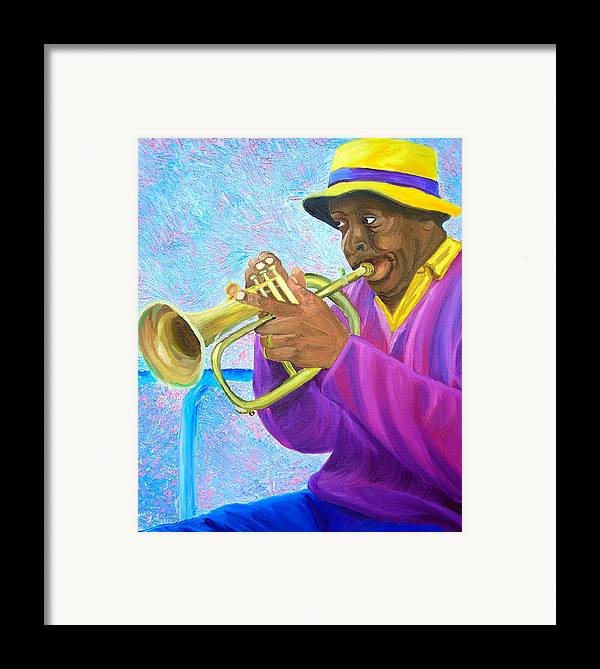 Street Musician Framed Print featuring the painting Fat Albert Plays The Trumpet by Michael Lee