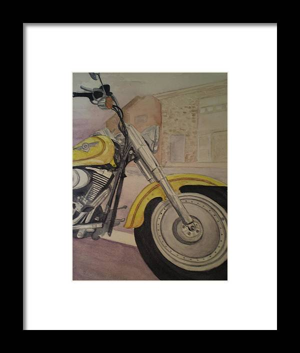 Motorcycle Framed Print featuring the painting Fat Boy by Alyson Harris