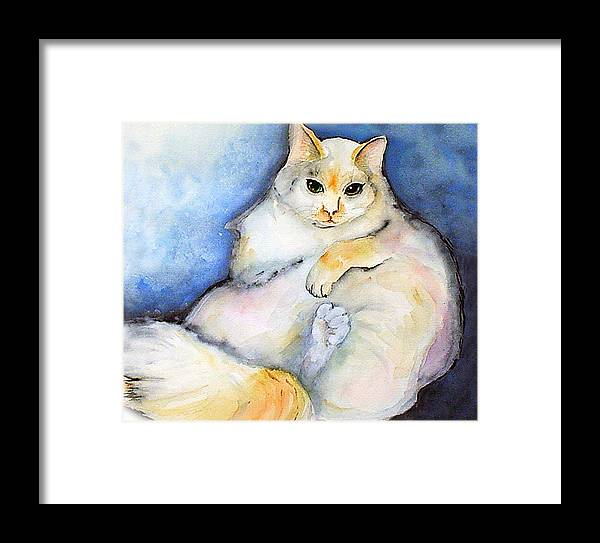 Feline Framed Print featuring the painting Fat Cat by Gina Hall