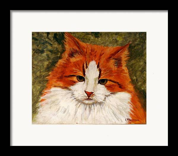 Cats Framed Print featuring the painting Fat Cat by Lia Marsman