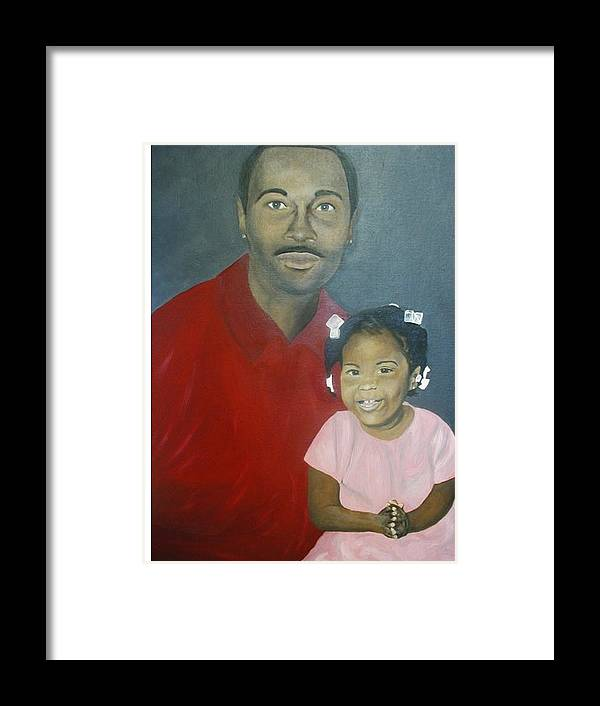 Portrait Framed Print featuring the painting Father And Daughter by Angelo Thomas