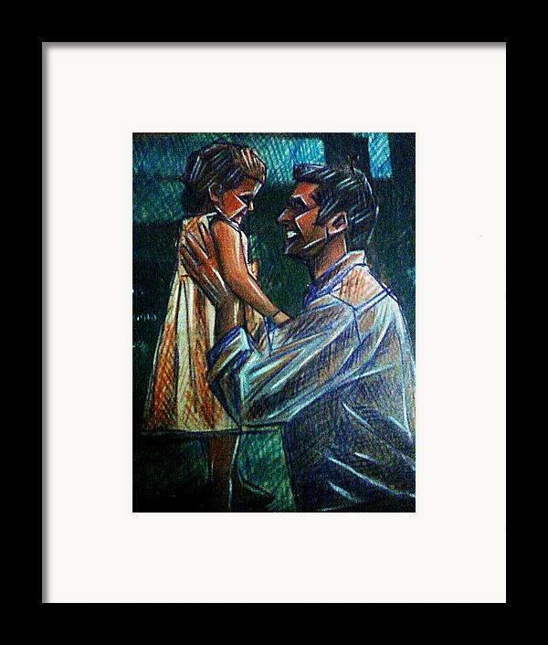 Father And Daughter Framed Print featuring the mixed media Father And Daughter by Paulo Zerbato