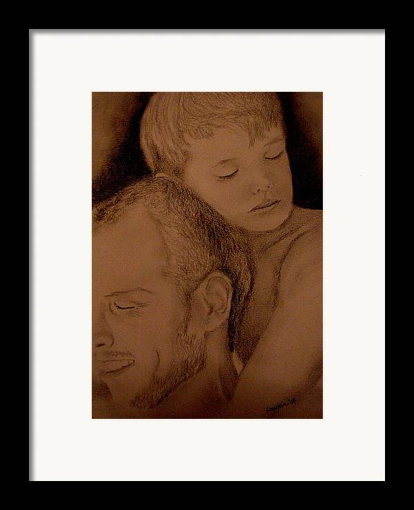 Portrait Framed Print featuring the painting Father And Son by Glory Fraulein Wolfe