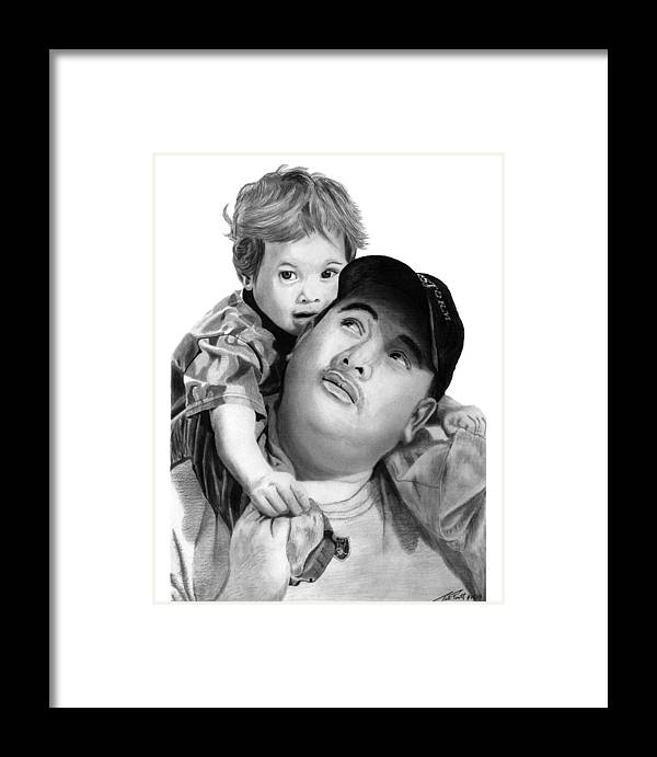 Father And Son Framed Print featuring the drawing Father And Son by Peter Piatt