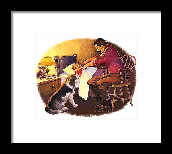 Retro Framed Print featuring the mixed media Father And Son by Lash Larue