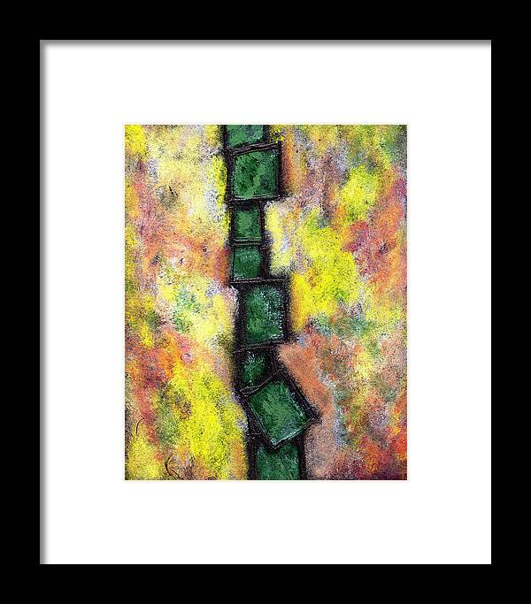 Abstract Framed Print featuring the painting Faux Tile Two by Wayne Potrafka