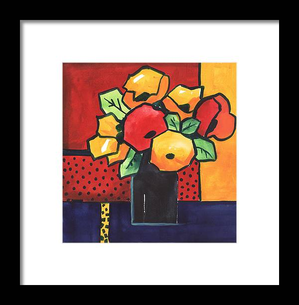 Painting Framed Print featuring the painting Favorite Funny Flowers 2 by Carrie Allbritton
