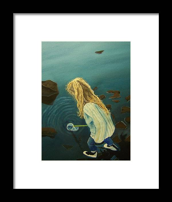 Girl Water People Figure Painting Framed Print featuring the painting Favorite Place by Charles Vaughn