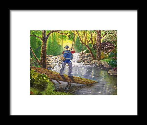 Landscape Framed Print featuring the painting Favorite Spot by Charles Vaughn