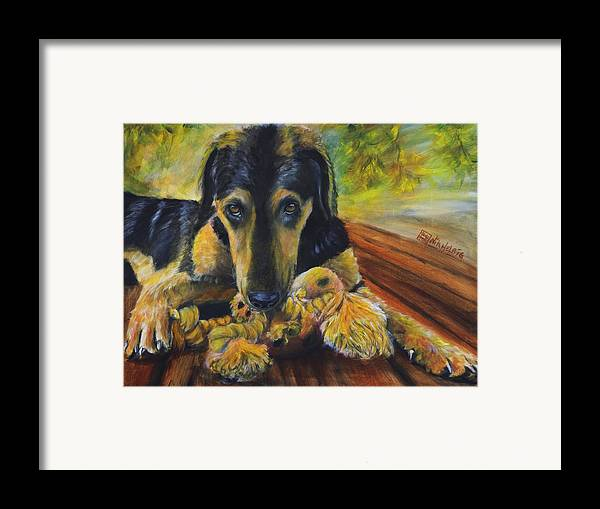 Dog Framed Print featuring the painting Favorite Things by Nik Helbig
