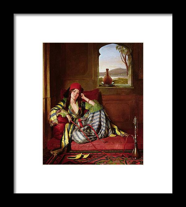 John Frederick Lewis(1804-1876)-orİentalİsm-(favourite Of The Harem_19th Century) Framed Print featuring the painting Favourite Of The Harem by John Frederick
