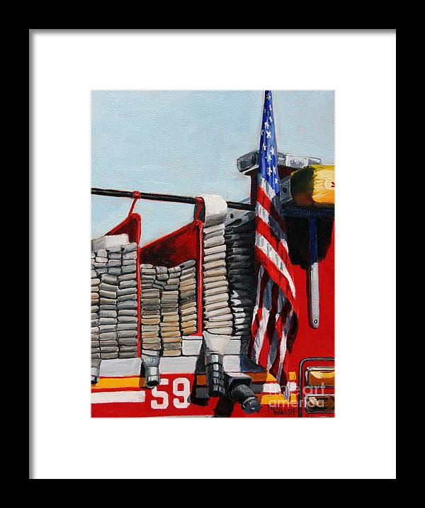 Fdny Framed Print featuring the painting FDNY ENGINE 59 American Flag by Paul Walsh