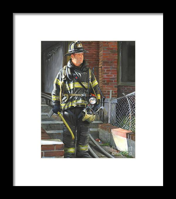 New York City Firefighter Framed Print featuring the painting Fdny Squad 41 Firefighter by Paul Walsh