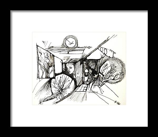Ink Art Framed Print featuring the drawing Fear Is A Caterpillar by Tim Parrish