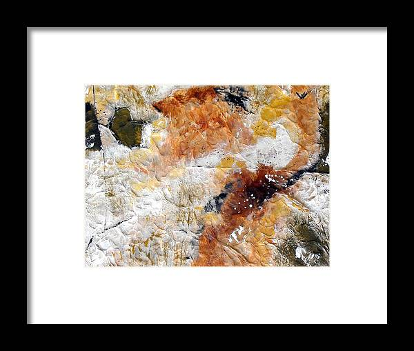Abstract Framed Print featuring the painting Fear Of The Unknown Close-up by Ruth Palmer