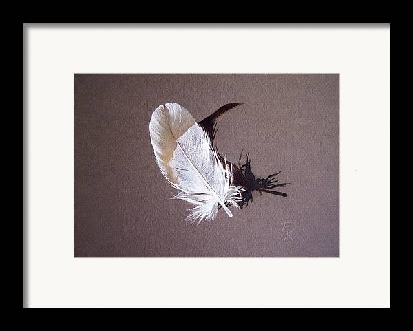 Still Life Framed Print featuring the drawing Feather And Shadow 1 by Elena Kolotusha