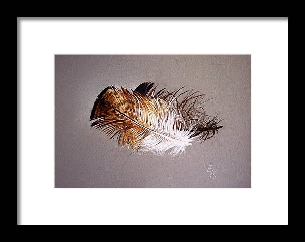 Still Life Framed Print featuring the drawing Feather And Shadow 2 by Elena Kolotusha