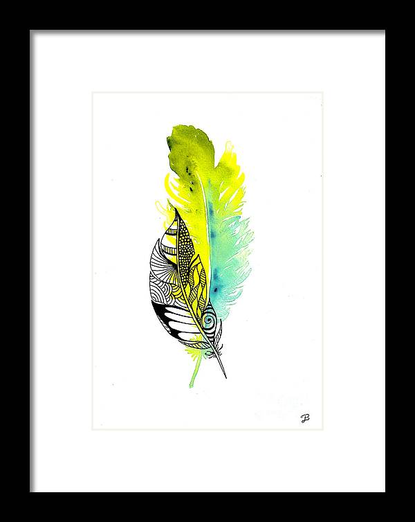 Watercolor Framed Print featuring the painting Feather Fusion by Becky Dimock