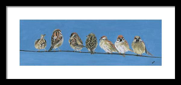 Birds Framed Print featuring the painting Feathered Friends by Deborah Butts