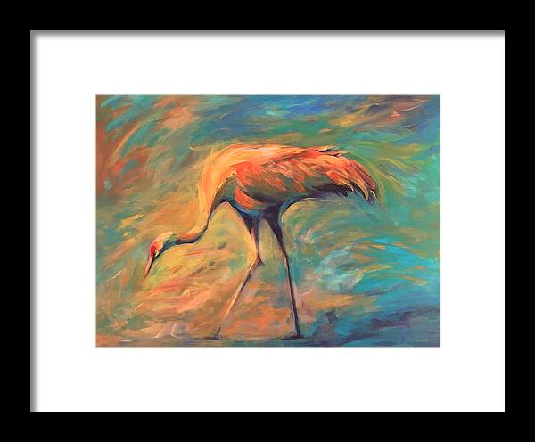 Sandhill Crane Framed Print featuring the painting Feathers by Alaskan Raven Studio
