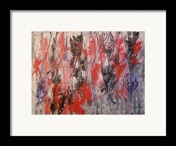 Abstract Framed Print featuring the painting Feathers by Don Phillips