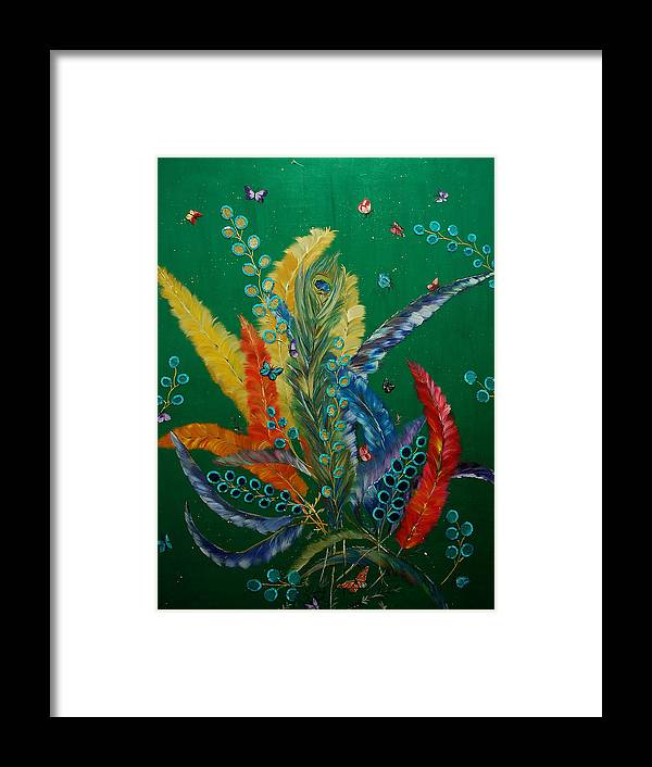 Birds Framed Print featuring the painting Feathers by Irum Iftikhar