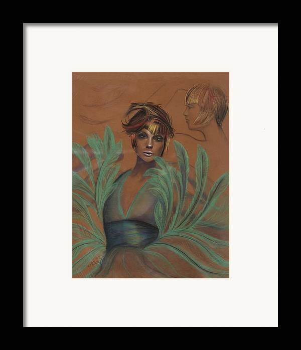 Feather Framed Print featuring the drawing Feathers by Maryn Crawford