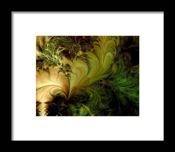 Feather Framed Print featuring the digital art Feathery Fantasy by Casey Kotas