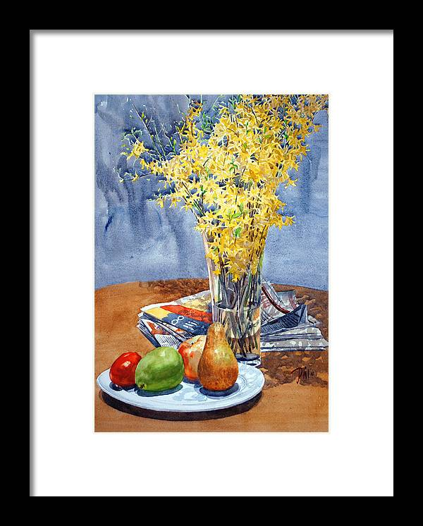 Watercolor Still Life Framed Print featuring the painting February Forthysia by Peter Sit