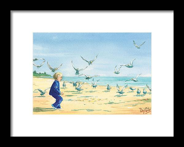 Boy On Beach Framed Print featuring the painting Feeding Joy by Ray Cole