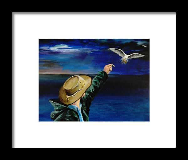 Seagull Framed Print featuring the painting Feeding My Gull Friend by Larry Whitler