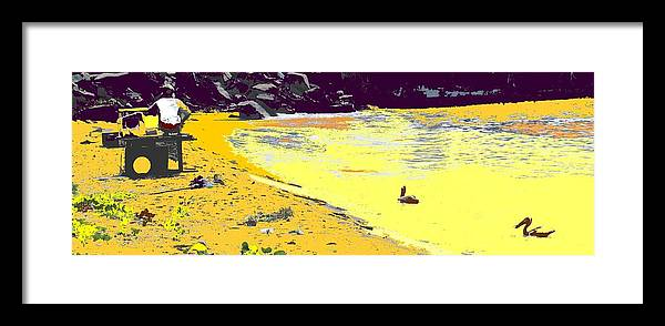 St Kitts Framed Print featuring the photograph Feeding The Pelicans by Ian MacDonald