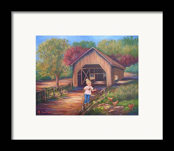 Landscape Framed Print featuring the painting Feeding Time by Maxine Ouellet