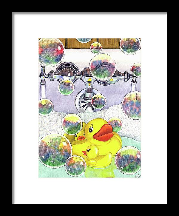 Bubbles Framed Print featuring the painting Feelin Ducky by Catherine G McElroy