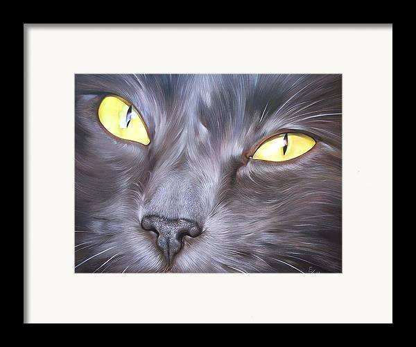 Cat Framed Print featuring the painting Feline Face 1 by Elena Kolotusha