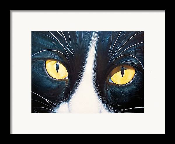 Cat Framed Print featuring the painting Feline Face 2 by Elena Kolotusha