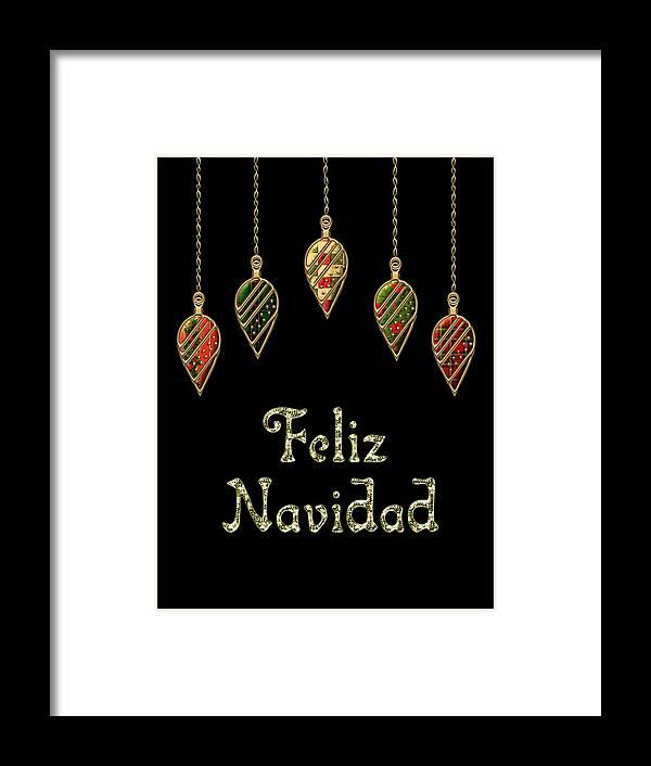 Red Framed Print featuring the digital art Feliz Navidad Spanish Merry Christmas by Movie Poster Prints