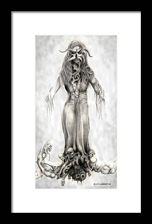 Horror Framed Print featuring the drawing Fem Hell by J P Lambert