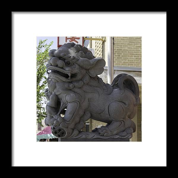 Teresa A Mucha Framed Print featuring the photograph Female Chinese Guardian Lion by Teresa Mucha
