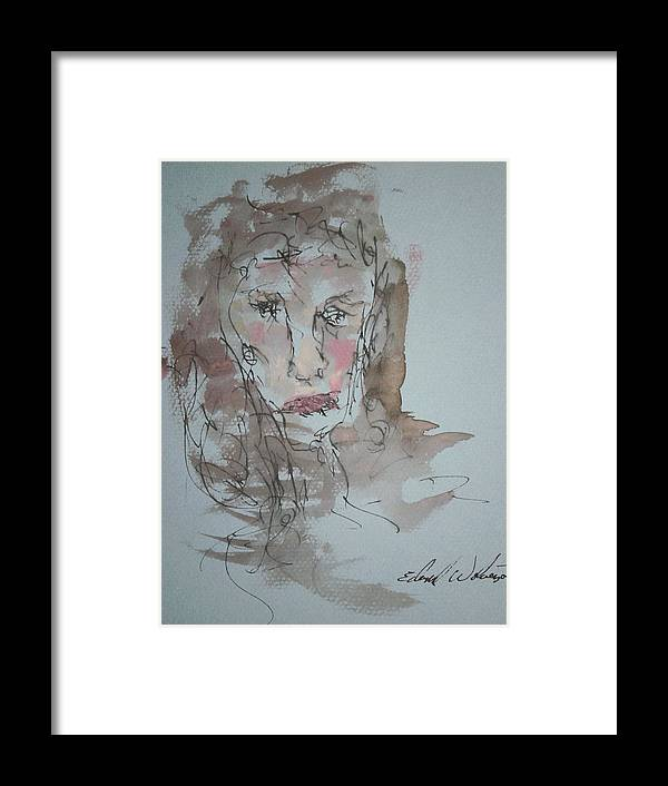 Portrait Framed Print featuring the mixed media Female Face Study A by Edward Wolverton